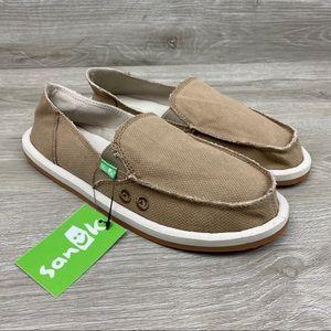 Sanuk Donna Hemp Flats Loafers Slip On Tan 7 NWT